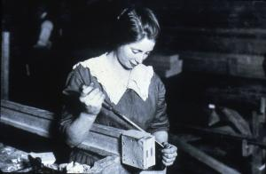 Image of a woman cabinet maker, 19th century
