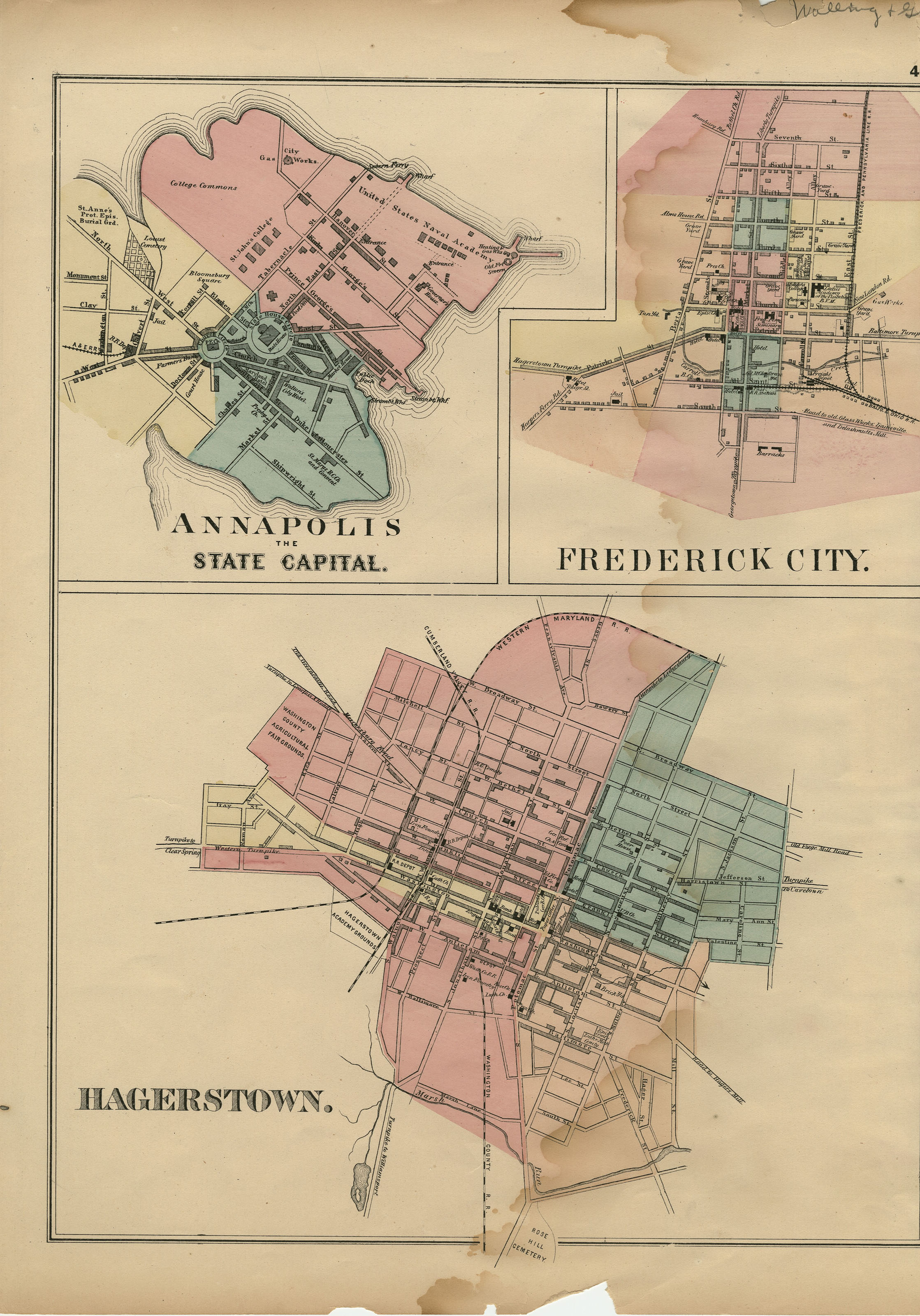 Image of Annapolis, Frederick City, and Hagerstown City Maps